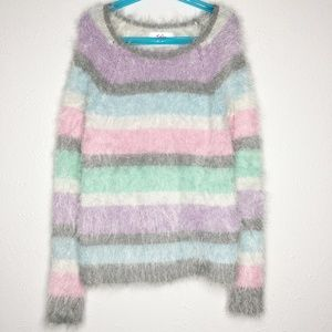 JUSTICE Pastel Striped Fluffy Sweater